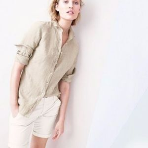 J. CREW Perfect Shirt Linen Straw Button Down Top