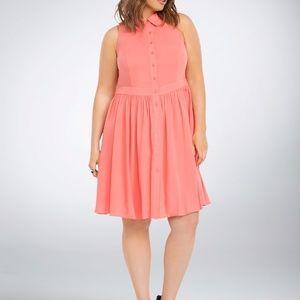 TORRID NWT Coral Button Front Challis Dress