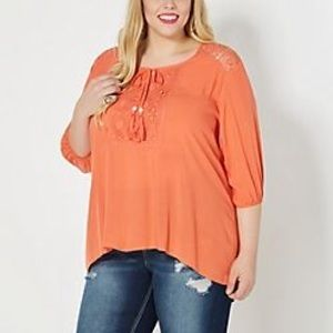 Coral Medallion Crochet Peasant Top