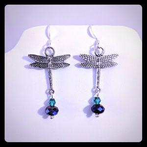 🌺 Dragonfly Earrings 🌻 Sterling silver, Crystal