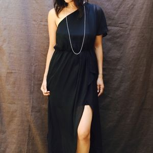 Classic, Midi, One Shoulder, High Slit Dress