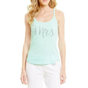 Betsey Johnson Blue Mrs. Ribbed Tank Bow Back