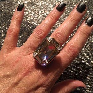 Swarovski Art Deco Large Segment Crystal Ring Sz 8