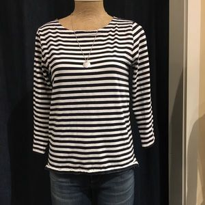 Navy striped 3/4 top
