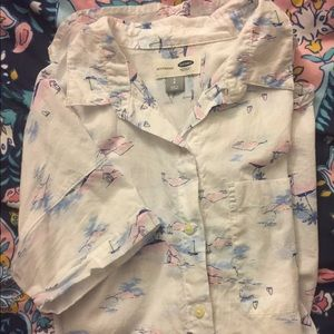 Patterned short-sleeved button-up shirt - Old Navy
