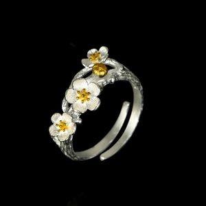 100% 925 silver blooming plum flower ring