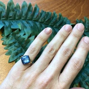 Cute Blue Pinky Ring - Goldfill wire - handmade