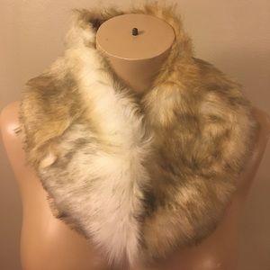 Vintage White Wolf Rabbit Fur Infinity Scarf Retro