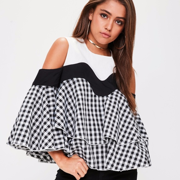 f9d1a2b331a9c Missguided Black Gingham Colour Block Top