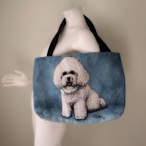 VTG Handwoven BICHON FRISE Dog Tapestry Tote