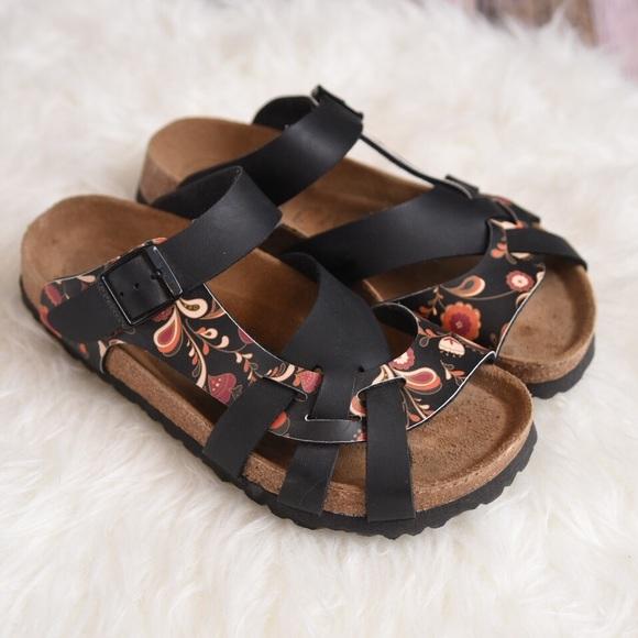 3dc1f495a82 Birkenstock Shoes - Birkenstock Papillio Birkoflor floral black sandal