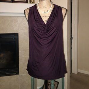 Ann Taylor 100% Rayon Cowl Neck Sleeveless Blouse