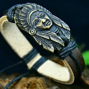 Native American Tribal Leather Bracelet