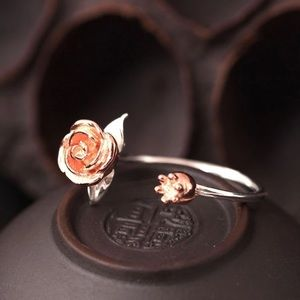 100% 925 silver Bell rose ring