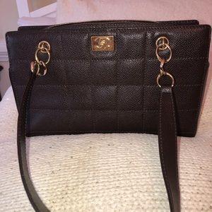 CHANEL dark brown caviar leather handbag