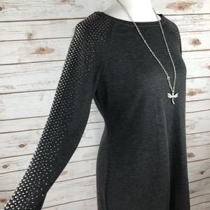 Calvin Klein Studded Charcoal Gray Sweater Dress L