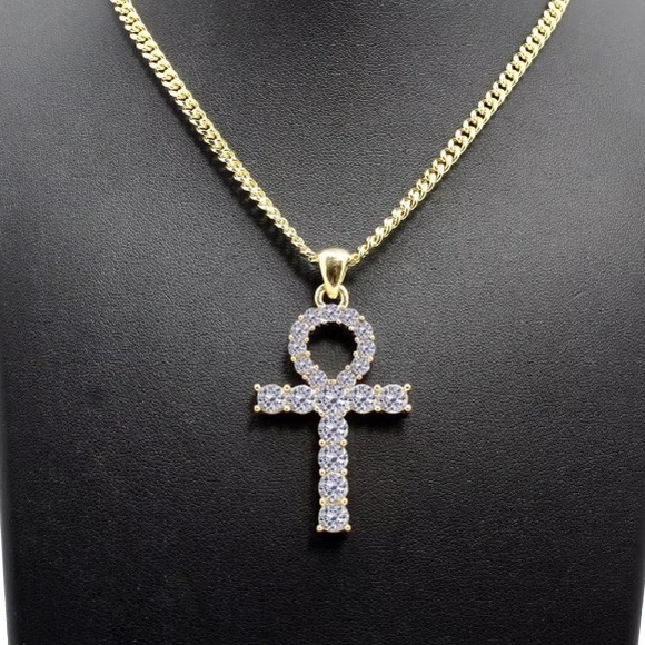 """Men/'s 14k Gold Plated Cz TENNIS Chain Ankh Pendant 24/""""  Necklace Iced Out"""