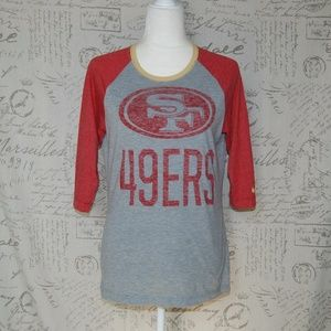 Nike 49ers T-shirt 3/4 Sleeves Red Gray  L/M