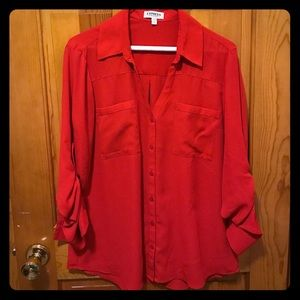 Red Express Button Up