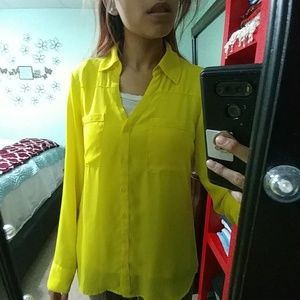Express small yellow portfolio button down top