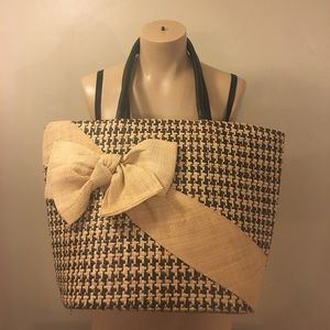 Gorgeous Wicker Houndstooth Bow Fashion Tote Bag