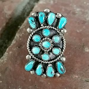 Sterling Silver Turquoise Cluster Ring Sz 8