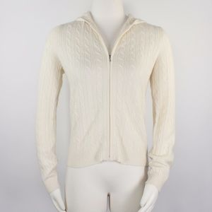 100% Cashmere Ivory Cable Knit Hoodie Cardigan 889