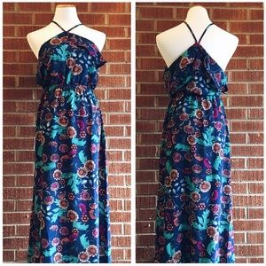 Monteau blue floral ruffle halter maxi dress