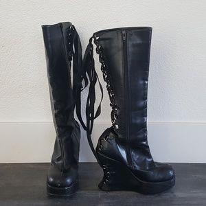 Black Lace Detailed Dominatrix Boots