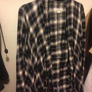 Black, white, & blue checkered long sleeve