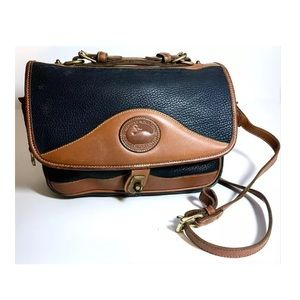 Dooney & Bourke navy blue tan shoulder bag