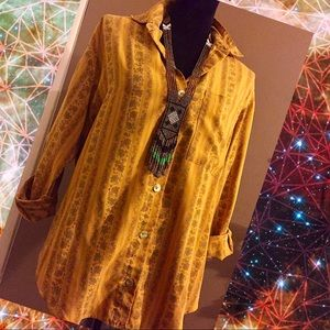 Vintage Gianna Mustard Floral Button Down Blouse