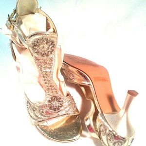 Rouge Helium Gold Beaded T-Strap Heels