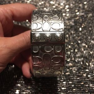 Coach Legacy Silver Signature Bangle Bracelet