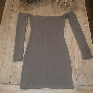 Off the shoulder olive dress