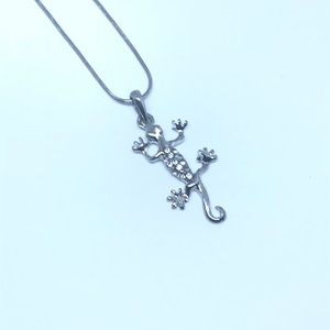 "Classic ""stuck on you"" gecko pendant & necklace"