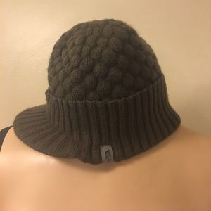 North Face Brown Quilted Texture Knit Beanie Hat