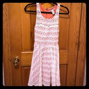 American Rag Peach and White Lace Dress