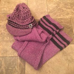 Rare Lululemon Purple Knit Scarf & Beanie Set