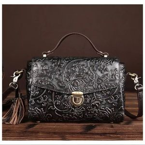 Leather tooled patina embossed crossbody bag NWT