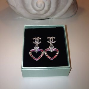 Pink hearts love fashion earrings