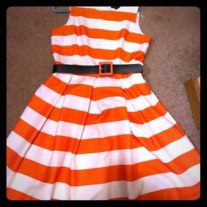 Madison Leigh Orange and White Striped Dress