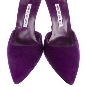 Authentic Manolo Blahnik purple suede pumps