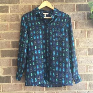 Banana Republic Blue Beetle Sheer Button Down Top
