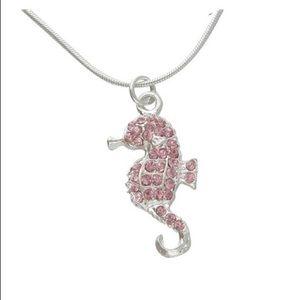 Blushing mermaid's companion seahorse pendant