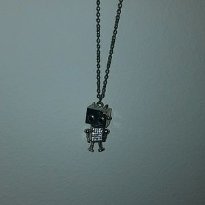 Adorable girl robot necklace