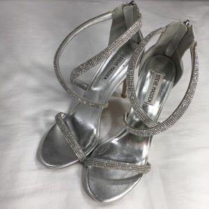 Steve Madden Faiz Rhinestone Strappy Silver Heels