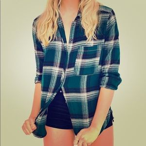 Urban Outfitters green flannel button down