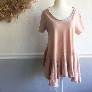 Anthropologie Eri+Ali Blush Pink Peplum Tee, XS