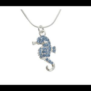 Ocean blue mermaid's companion seahorse pendant